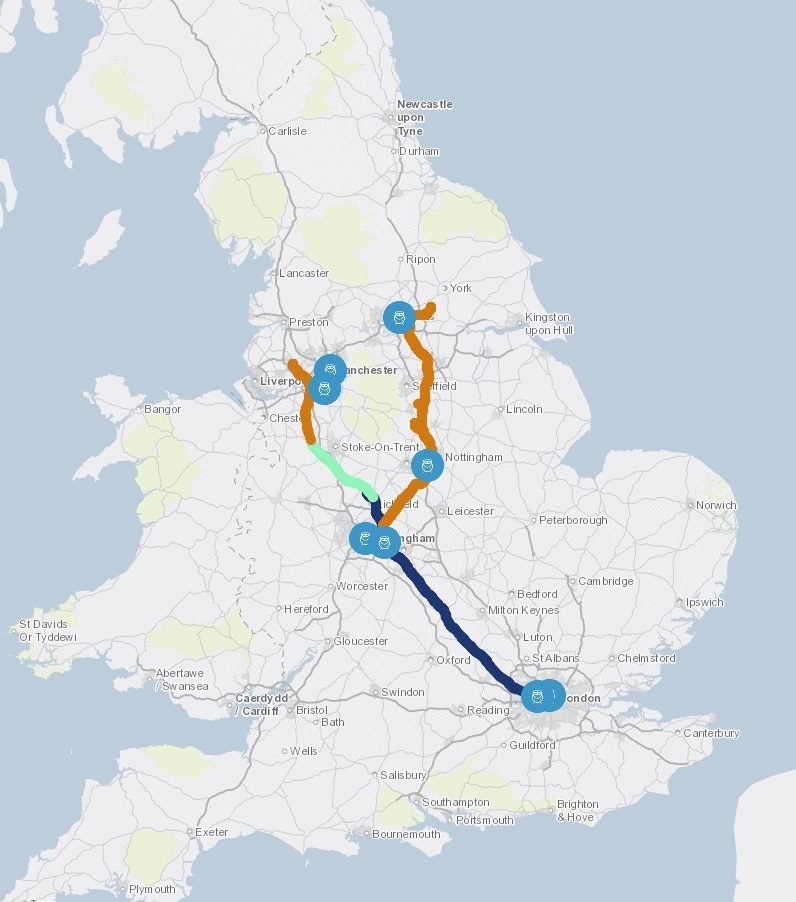 hs2 link map from london to manchester and leeds